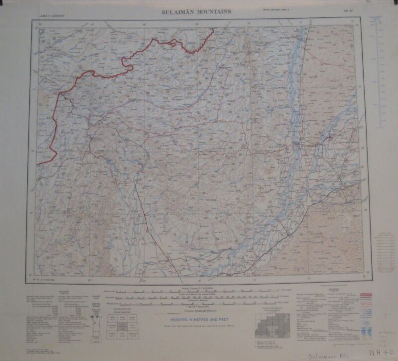 1947 US Army Topo Map SULAIMAN MOUNTAINS Pakistan Quetta Multan Panjnad Canal,