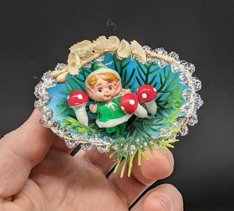 Vintage Christmas Plastic Diorama Indent Ornament GNOME ELF MUSHROOM Blue Foam