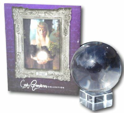 Cindy Grundsten collection 60mm Crystal ball on glass stand