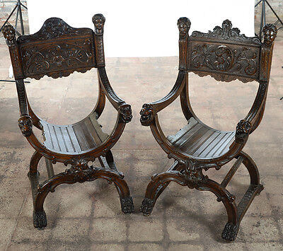 19th century Pair of highly carved walnut Roman Savonarola Chairs-c1840s