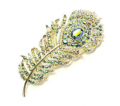 Peacock Feather Pin Brooch Gorgeous Sparkling Emerald Color AB Crystal