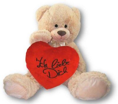 XXL Teddy Bär 100 cm mit Herzkissen Ich liebe Dich 39 x 34 cm Stick Schwarz