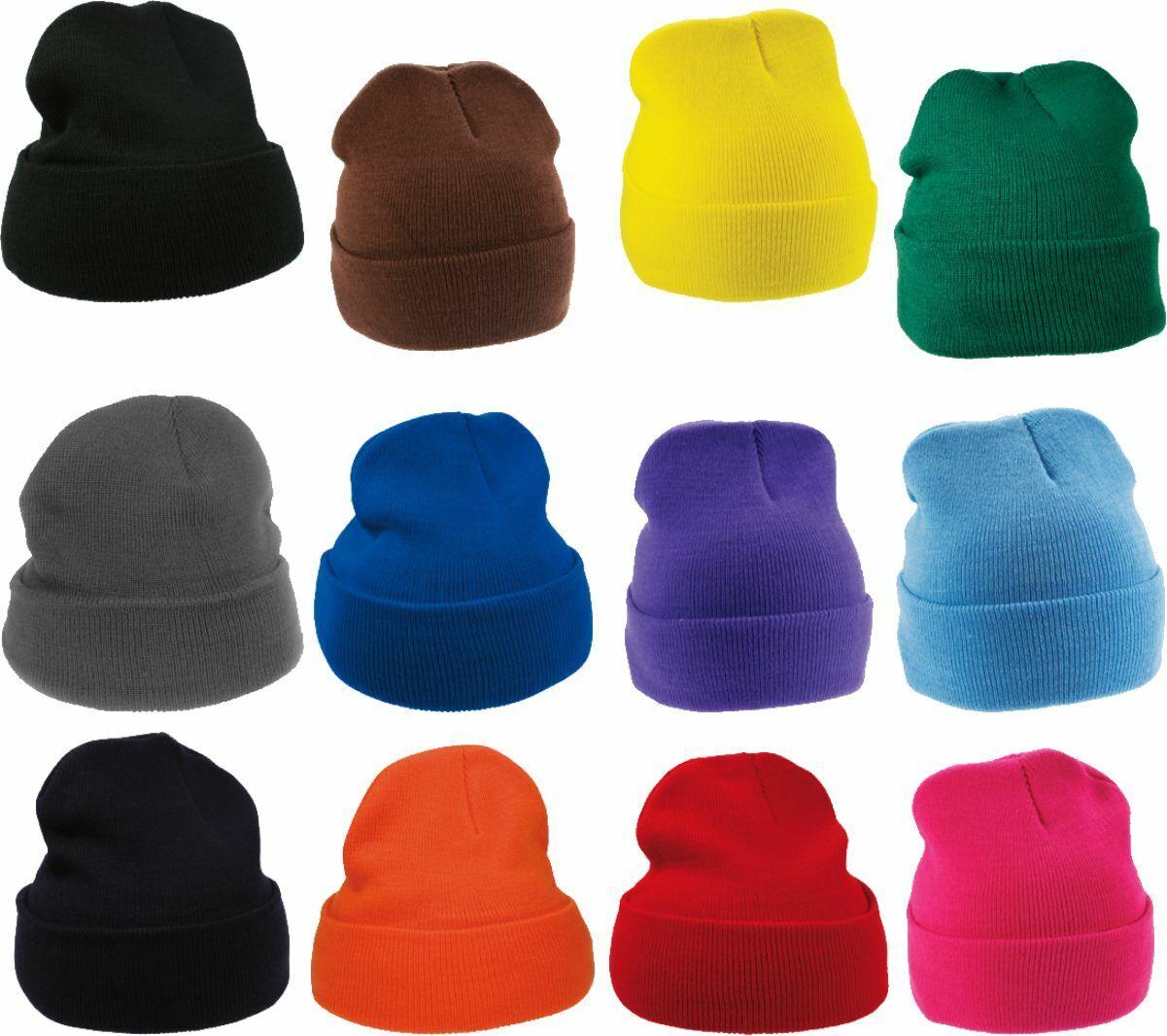 Herren Damen Mütze Wintermütze Cuffed Beanie Skimütze Strickmütze breiter Krempe