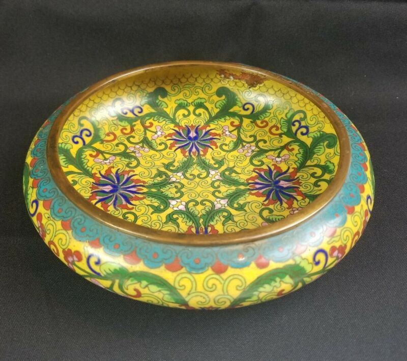 Antique Top Quality Chinese Cloisonne Shallow Bowl 8""