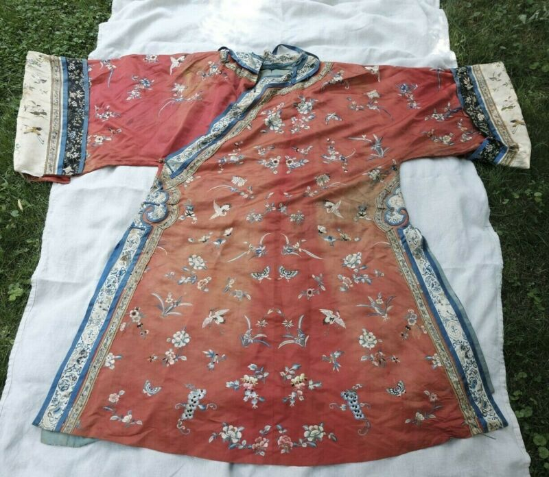 Incredible Silk Hand Embroidered Antique Ceremonial Robe Qing Dynasty Red Dragon