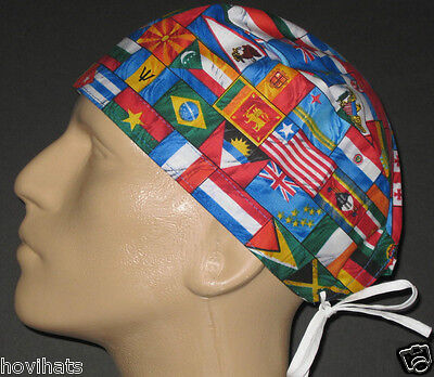 Flags Of The Olympic Countries Scrub Hat / Free Custom Sizing