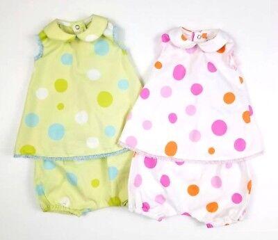 LES BEBES De FLORIANE White & Green Polka Dot Infant Dresses w/ Bottoms Sz 3M