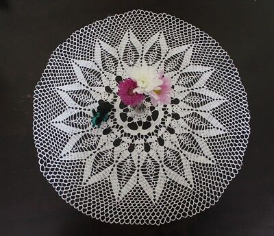 NEW gorgeous handamde doily in white with delicate outter design