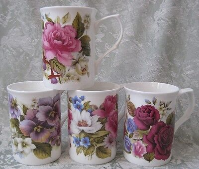 summer Suite Of Four Different, English Made Fine Bone China Mugs , Adderley