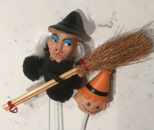 VINTAGE HALLOWEEN PAIR OF PICKS: SCARECROW, GLAMOUR WITCH W/BROOM FLORAL