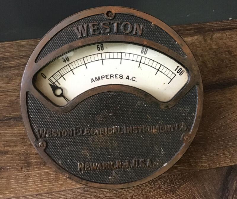 Antique WESTON ELECTRICAL INSTRUMENT Co Large Amps Gauge NEWARK NJ USA