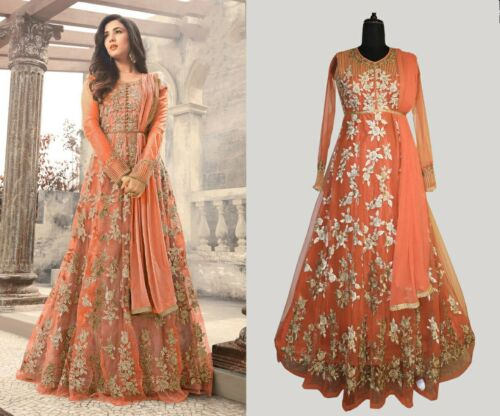 Indian Party Heavy Pakistani Anarkali Salwar Kameez Suit Bollywood Wedding Gown