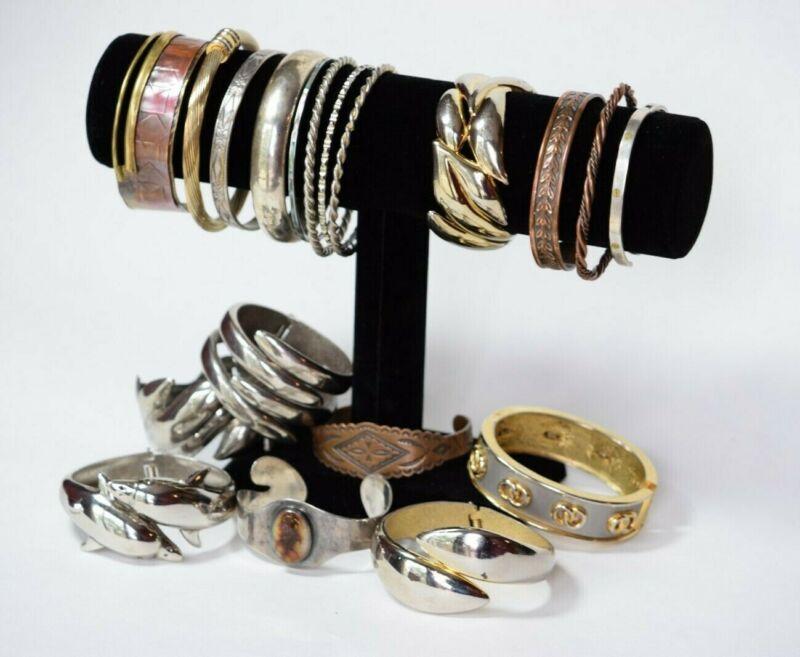 Vintage Metal Bracelet Lot - Silver & Gold Toned