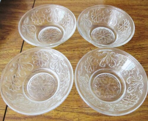 Set of 4 Clear Indiana Tiara Sandwich Glass Small Berry Dessert Bowls Crystal