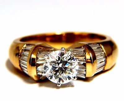 GIA Certified 1.78ct natural round diamond ring engagement  14kt cathedral+