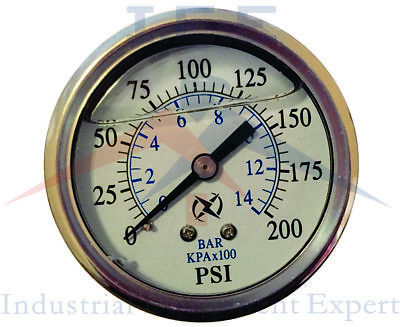 Liquid Filled 2.5 Face 200 Psi Air Pressure Gauge Center Back Mount