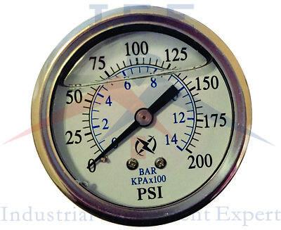 New Liquid Filled Pressure Gauge Compressor Hydraulic 2.5 200 Psi Back Mt 14