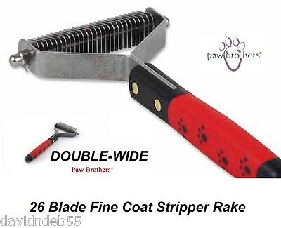 Dog Grooming DOUBLE WIDE Mat Breaker Undercoat Hair Coat STRIPPER 26 Blade RAKE