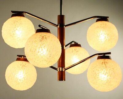 Temde Decken Leuchte Mod 564 Teak Glas Chrom Lampe Vintage 60er 70er