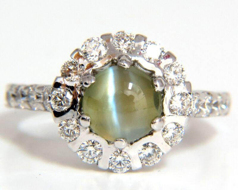 $7000 3.56ct Natural Diamond Chrysoberyl Mesmerizing Cats Eye Ring 14kt Khaki