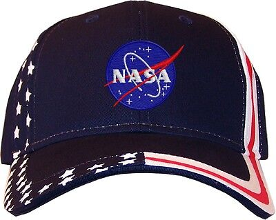 Nasa Meatball Insignia Embroidered Stars & Stripes Baseball Cap Hat  Navy