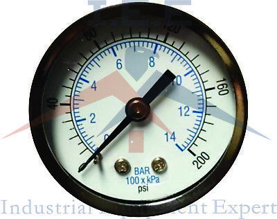 Air Compressor Pressure Hydraulic Gauge 1.5 Face Back Mount 18 Npt 0-200 Psi