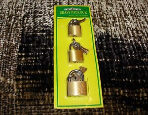 NEW 3 Pieces Small Metal Padlock Mini Brass Tiny Box Lock Key.
