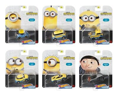 Hot Wheels 2020 Minions The Rise of Gru Set of 6, Character Car 1/64 Diecast
