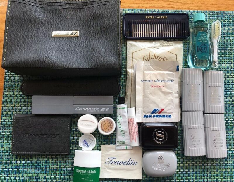Vintage AIR FRANCE Concorde Travel Toiletry Case Charles Franz & Extras 1980s