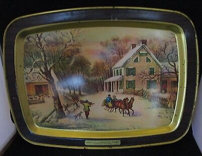 Courier & Ives Tin Serving Tray American Homestead Winter