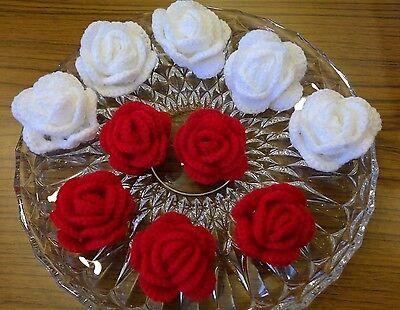 3 Stück  Rosen -(wünschfarbe),~Blumen~ Häkelblumen~Aufnäher~Applikation~NEU
