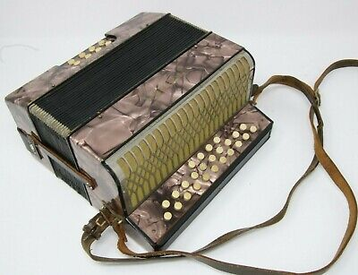 Vintage Hohner Liliput Button Accordion 1930s-1940s Works Great Made In Germany