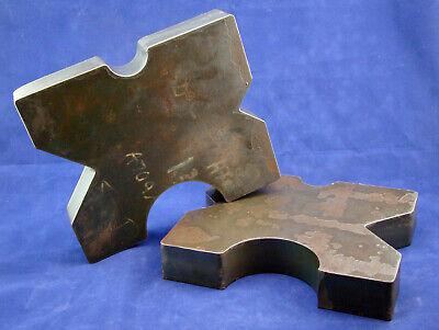 Pair 8.5x10 Arbor Plates 1.625 Thick Hydraulic H-frame Shop Press V-cut