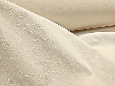 "Ivory Velvet Cotton Blend Jacquard Upholstery Fabric 56"" Wide Fabric by the Yard"