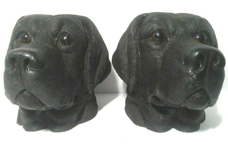 VINTAGE BLACK DOG HEAD BANKS Set of 2 LABRADOR Still Bank Resin BOOKENDS