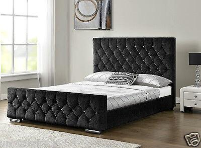 Diamond Upholstered Fabric Bed Frame Velvet Chenille