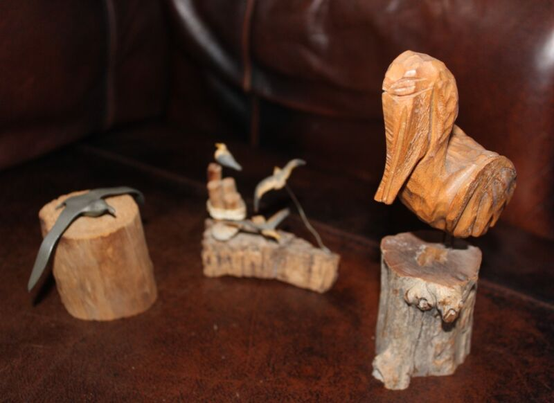 Vintage Handcrafted Birds on Pedastals - Pelican Seagulls - Wood Pewter