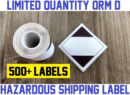 500 ORM-D DOT Limited Quantity Shipping Sticker Hazardous Label Fedex / UPS 2x2