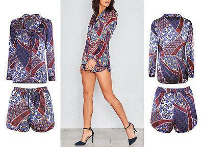 New Ladies Colllared Blazer High Waist Hot Pants  Paisley Print Satin Co Ord Set