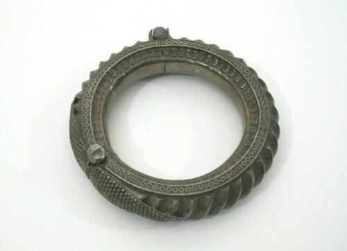 Antique Vtg Tribal Hand Made Silver Bangle Bracelet Rajasthan India Hinge & Pin