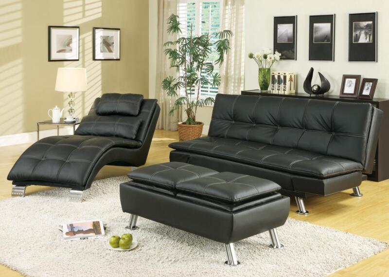 Stylish Black Leather Like Sofa, Chaise & Ottoman Living Room Furniture Set