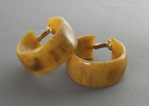Wide Large Pair Vintage Bakelite Clip Earrings Marbled Butterscotch Color