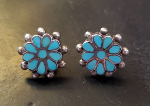 Gorgeous! Older Pair Zuni Earrings - Post, Natural Blue Turquoise Stones!! EXC!!