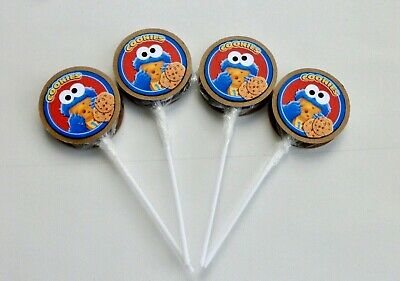 Cookie Monster / Party Favors/ Lollipops Birthday/ Baby Shower Party.  SET OF - Monster Baby Shower