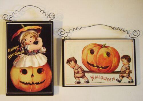 2 Retro HALLOWEEN Decorations Die Cut Cutout Vintage Style Postcard Reproduction
