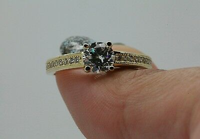 1Ct Solitaire Engagement Ring  Round  Cut  Solid 14K Yellow  Gold Free Sizing