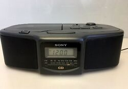 SONY AM/FM Dual Alarm Clock Radio CD Player Model ICF-CD800