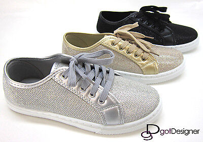 Womens Fashion Sneakers Shoes Round Toe Lace Up Flat Comfort Glitter Mesh Fabric