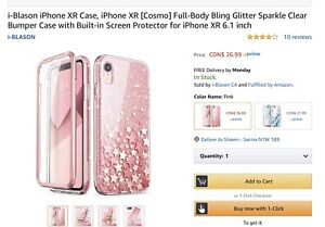 iPhone XR case Pink, Bling, Sparkle with stars.