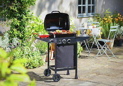 Home 2 Burner Gas BBQ with Side Burner Bbq Barbecue Grill Charcoal Cooking